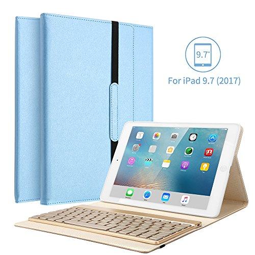 KVAGO iPad 9.7 Tastatur Hülle, iPad 9.7 Case mit 7 Farbe Hintergrundbeleuchtung Ultra-dünn QWERTZ Bluetooth Tastatur und Auto Schlaf/Aufwach Funktion für Apple iPad 9.7 Zoll 2017/2018 - Blau
