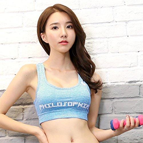 REALLION Set da yoga 3 pezzi donna (T-shirt manica corta + reggiseno sportivo + pantaloncini) Abbigliamento sportivo da palestra ad asciugatura rapida Blu