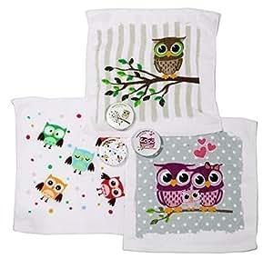 serviette magique 3 magic serviette owl gant de toilette motif chouette cuisine maison. Black Bedroom Furniture Sets. Home Design Ideas