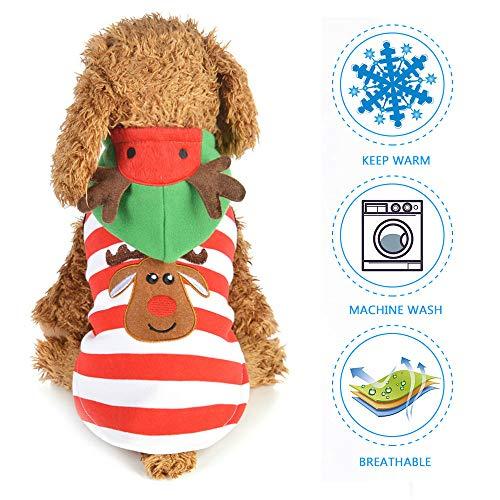 leegoal Hund Elk Santa Kostüm, Pet Hooded Sweatshirts Hund Weihnachtskostüme für kleine Hunde, Katzen, (Santa Kostüm Für Hunde)