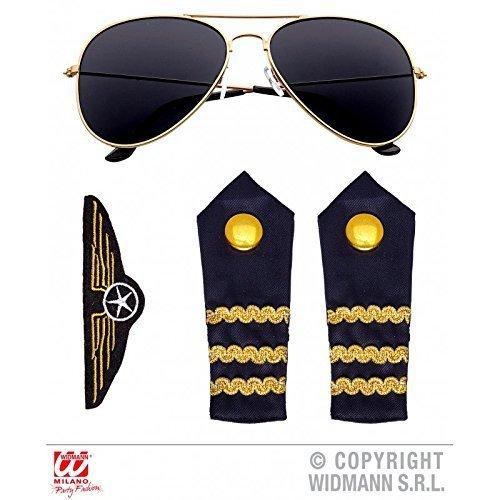 en Kostüm Set mit Brille, Abzeichen und zwei Schulterstücken / Faschingskostüm Zubehör (Steward Kostüm)