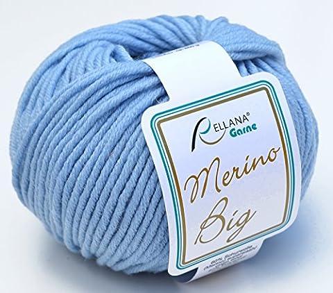 rellana coton Big FB. 11–Laine mérinos Bleu clair pour aiguilles 5–6avec bonnet laine mérinos à tricoter & Crochet, coton