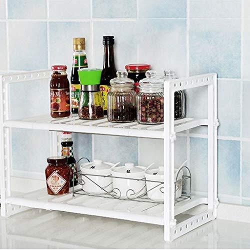 vijTIAN - Scaffale da lavandino a 2 Ripiani, espandibile, Porta Utensili da Cucina, in Acciaio Inox, Multifunzione, può aiutarti a Risparmiare Spazio
