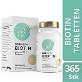 Biotin Tabletten - Hochdosiert mit 10.000 mcg D-Biotin pro Tablette - 365 vegane Tabletten im 1-Jahresvorrat - Vitamin B7 für Haare, Haut und Nägel von Cosphera