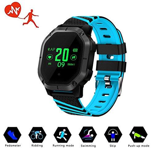 TechCode Fitness Uhr, Bluetooth Farbbildschirm Fitness Tracker IP68 Wasserdichtes Schwimmen Armband Fitness Armband Multi-Sport-Modus Sportuhr für iPhone Android IOS Handy(Blau)