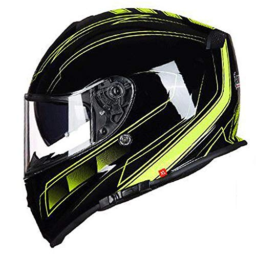 Zona Elegent ABS Outdoor Motorrad Fahren Full Coverage Helm Double Lens Four Seasons Universal Offroad Helm Fashion Stripes Integralhelm Schwarz Gelb Bezaubernd (Size : L) -
