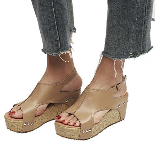 VJGOAL Damen Sandalen, Damen Mode Roman Sommer Runde Zehe Breathable Rivet Strand Boho Casual Wedges Schuhe, 7cm (37 EU, Khaki)