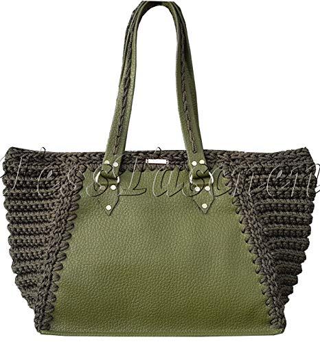 Khaki Handtasche Kelly Bag transformer Grün Umhängetasche Classic Schultertasche Medium Henkeltasche Leder Gestrickte Praktische casual Stil