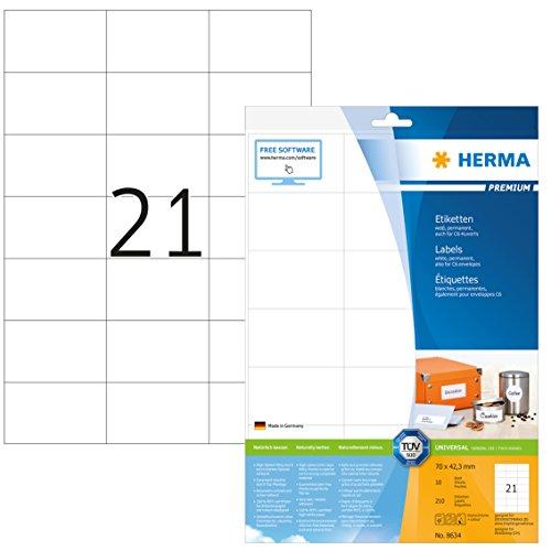 Herma 8634 Adressetiketten (70 x 42,3 mm) weiß, 210 Etiketten, 10 Blatt Premium DIN A4 Papier matt, bedruckbar, selbstklebend