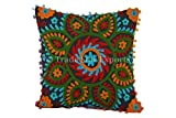 Trade Star Suzani Outdoor Pillows, Pom Pom Pillow Cover 16x16, Bohemian Indian Pillow Cushion Cover, Decorative Pillow Cases