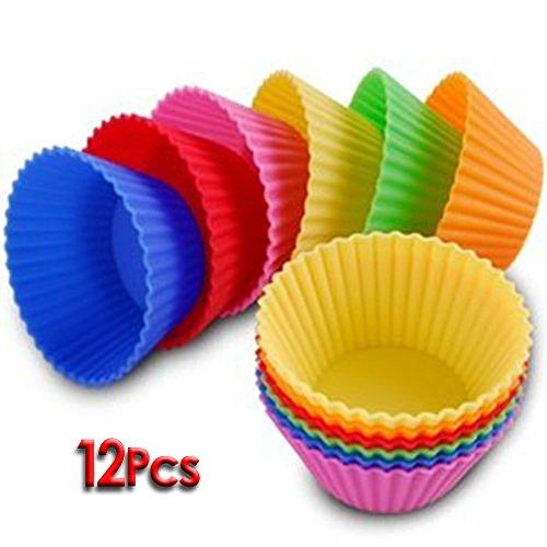 Ndier 12er Set Silikon Muffinform Muffinförmchen Muffin Kuchen Cup 6 Farben Backform Rot, Gelb, Grün, Pink, Orange, Blau stabil und flexibel farbig Haushältsgegenstände