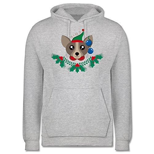 Weihnachten & Silvester - Chihuahua Weihnachts-Elfe - Männer Premium Kapuzenpullover / Hoodie Grau Meliert