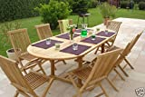 "HUMBER TEAK GRADE A TEAK ""HONFLEUR"" 17 PIECE OUTDOOR GARDEN PATIO DINING SET WITH 8 FOLDING CHAIRS & CUSHIONS 2.4 METRE EXTENSION TABLE & CUSHIONS"