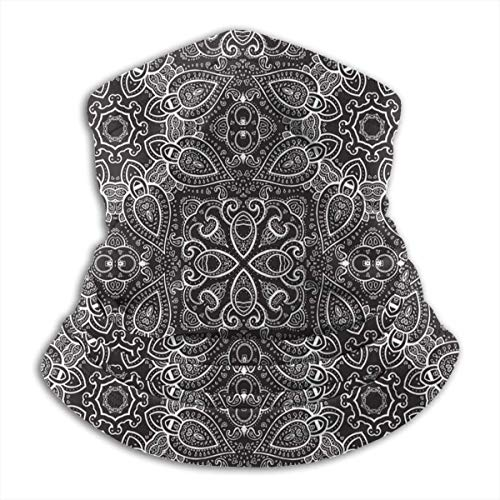 Fleece Neck Warmer Gaiter Mandala Paisley Soft Microfiber Headwear Face Scarf Mask For Winter Cold Weather & Keep Warm For Mens Womens