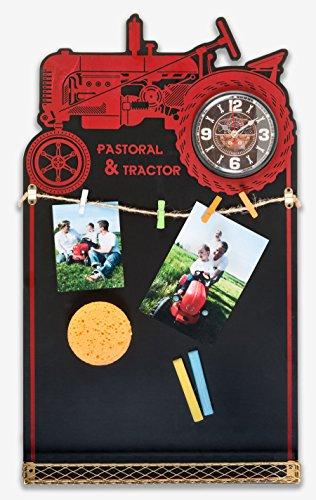 Ideal Fotouhr 12 aus Holz in 35x60 cm für 4 Fotos Notizen mit Ablagefach Foto Wand Uhr: Farbe: Traktor