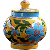 BLUE DECOR Blue Pottery Decorative-Handcrafted & Painted Floral Sugar Pot (SP102 ; Yellow )