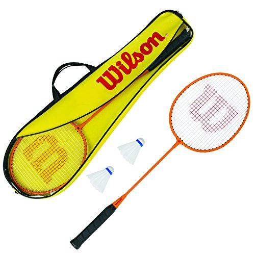 WILSON Gear Kit, Set Badminton, 2 Racchette Incluse, 2 Volani in, Plastica e Una Borsa di Trasporto, WRT8755003 Unisex, Arancio/Giallo