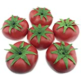 Gresorth 6pcs Artificiel Lifelike Tomate Décor Faux Fruits Maison Fête Festival Décoration