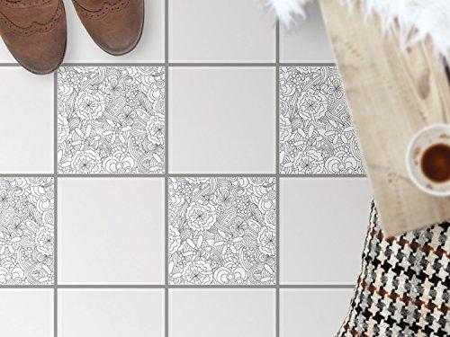 Fussboden-Fliesen kleben   Dekorativ-Aufkleber Folie Sticker Badfolie Küchen-Fliesen Badgestaltung   30x30 cm Design Motiv Creative Lines - 4 Stück