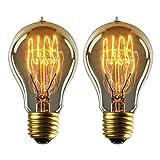 Lampadina Edison E27 Lampadine Edison Vintage Dimmerabile Lampada Retro Filamento Lampade Decorativa 40W Globo Bianco Caldo A19 220-240V - 2 Pezzi