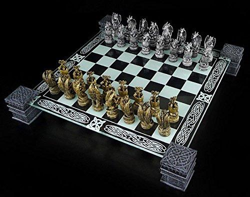 Fantasy Schach (Drachen Schachspiel mit Glasbrett - Fantasy Schachfiguren Schach)