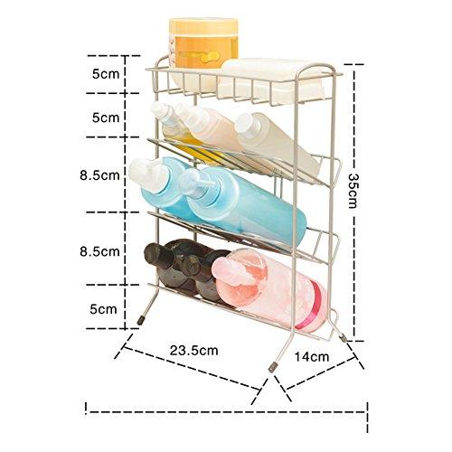 4In acciaio inox inclinato inserito rack di stoccaggio/trucco bagno rack/pavimento al soffitto del bagno Mensole-B