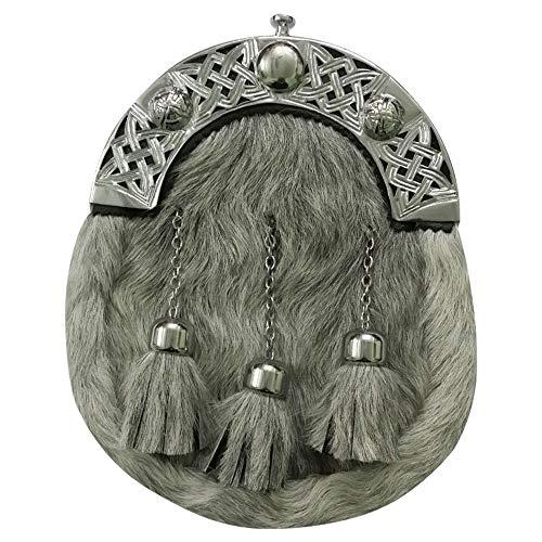 Highland Kilt Herren Gürtelschnalle Gr. Large, Kilt Sporran Grey Bovine Swirl Celtic Knot Cantle Chrome Highland Swirl