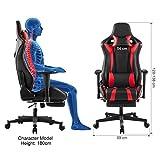 LANGRIA Gaming Chair Schreibtischstuhl Gaming Stuhl Kunstleder Racing Chefsessel Sportsitz mit Wippkunktion, Höhenverstellbar (Schwarz und Rot) - 5