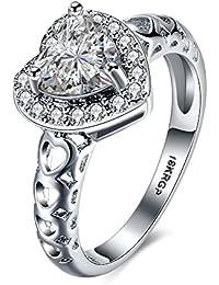 Anillos de compromiso El corazón suena el anillo de la promesa del aniversario de boda cristalino plateado del oro blanco 18K de Zirconia cúbico para ella