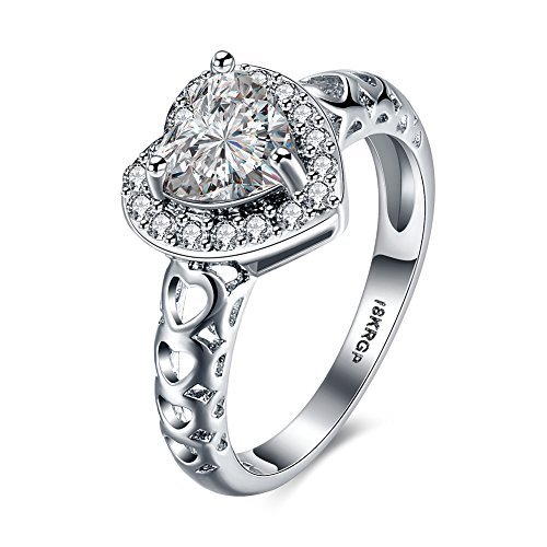 Via Mazzini Platinum Plated AAA Swiss Crystal Heart Proposal Ring For Women (Ring0298)