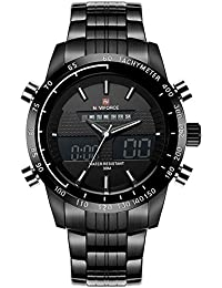 Naviforce - Reloj deportivo de cuarzo para hombre, analógico y digital, de acero completo, con caja de Gorben