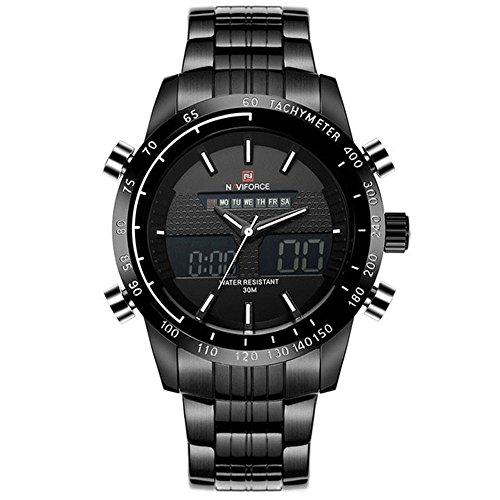 Naviforce Herren-Armbanduhr im Militär-Stil, sportlich, aus Stahl, Analog- und Digitalanzeige, mit Quarzuhrwerk, in Gorben-Geschenkbox