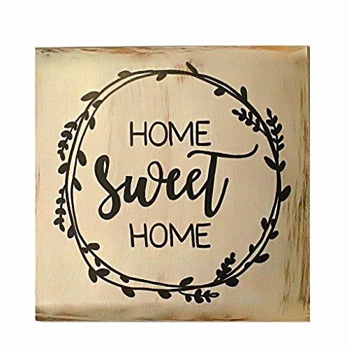 Mengonee Dekorative Brett Tischdekorationen Zeichen Plaque Holz Home Sweet Home Stehen Plank Panel Startseite anzeigen Decor (Home Akzente Anzeige)