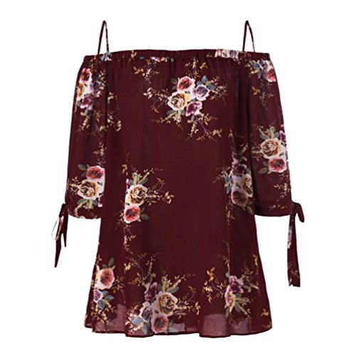 Sommer Schulterfrei Oberteile T Shirt Plus Size Blumendruck Bluse Casual Tops Camis(Wine,XXL) (Herz Dame Plus Size)