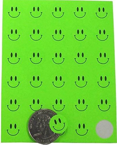 Smiley-Gesicht Circle Dot Sticker 1/2 Zoll Runde Etiketten leuchtend grün