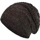 Compagno warm gefütterte Beanie Wintermütze angesagtes Strickmuster Fleece-Futter Mütze Einheitsgröße, Farbe:Samt Braun