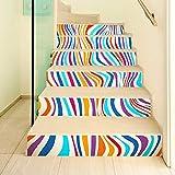 GZZ Hauptdekoration-Aufkleber-Moderne unbedeutende Treppen-Aufkleber der Art-3D, Farbstreifen-DIY-Erneuerungs-Treppenhaus-Aufkleber, PVC imprägniern Selbstklebende Aufkleber,100 * 18cm,6 Stück