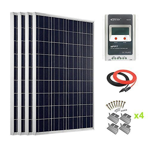 Giosolar 400Watt Hohe Effizienz Polykristalline Solar Panel mit 40A MPPT Solarladeregler LCD für Wohnmobil, Wohnwagen, Wohnmobil, Boot/Yacht (Watt 400 Mit Solar-panels)
