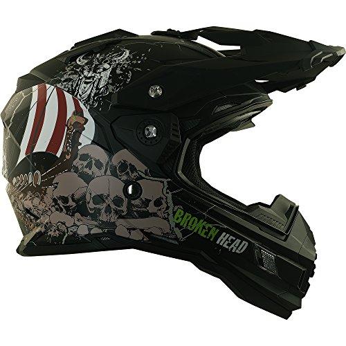 Enduro Helm mit Sonnenblende Broken Head Fullgas Viking matt schwarz - Cross Helm - MX Helm - Quad Helm (XL 61-62 cm) - 6