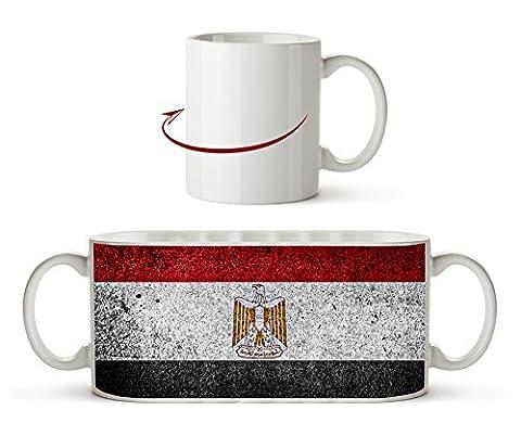 Ägyptische Flagge Effekt: Zeichnung als Motivetasse 300ml, aus Keramik weiß, wunderbar als Geschenkidee oder ihre neue Lieblingstasse.