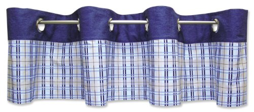 Trend Lab 106621 Rockets Window Valance- Rockets Plaid Percale Bottom with Denim Top- 70 X 15- 8 1.5 Diameter Grommets