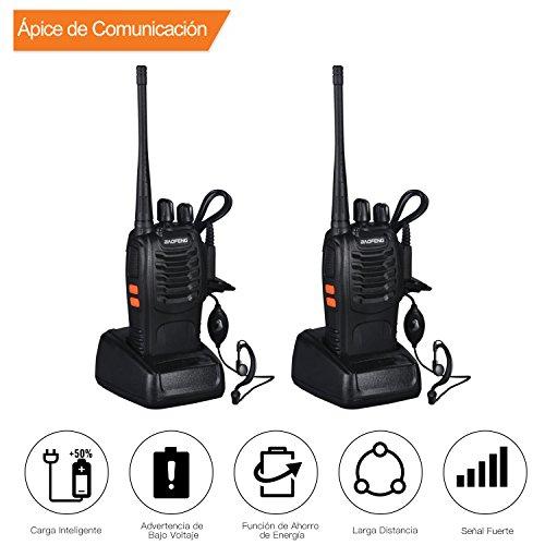 Walkie Talkie, VHF / UHF FM Transceptor 400-470MHz Linterna de Walkietalkie recargable 5W 16Ch con auriculares Radio bidireccional