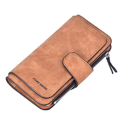 Damen Geldbörse Piebo Brieftasche Portemonnaie Lang Portmonee Elegant Clutch Große Kapazität Handtasche Geldbeutel PU Leder Geldtasche mit Reißverschluss für Frauen (Kaffee)