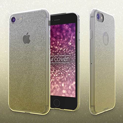 Urcover® Apple iPhone 7 Plus / 8 Plus Schutz-Hülle | TPU / Silikonhülle in Blau | Rainbow Handy Back-Case | Glitzer Cover Crystal Case robuste Schale | Handyhülle Smartphone Zubehör Tasche Gelb