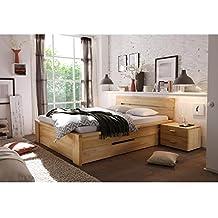 Cama de madera maciza Cassetta 180 x 200 cm haya Core de madera maciza de madera maciza 180 x 200
