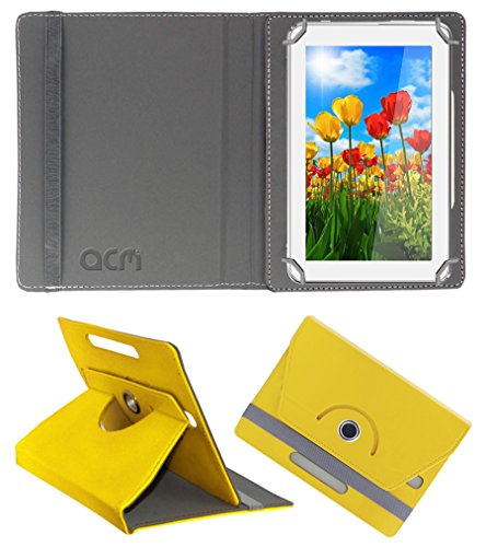 Acm Rotating 360° Leather Flip Case for Tescom Turbo 2g Cover Stand Yellow  available at amazon for Rs.149