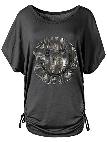 N115 Damen Batwing Shirt T-Shirt Longshirt Smiley Kurzarm Tunika Bluse Smily, Farben:Schwarz, Größen:Einheitsgröße