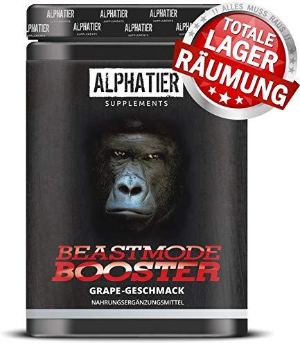 PRE WORKOUT BOOSTER BEASTMODE - 500g Pulver - ALPHATIER Hardcorebooster mit Koffein, Citrullin, L-Arginin, Creatine, Beta-Alanin - Training & Fitness Shake - Grape Flavour -