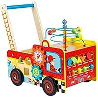 Baby Feuerwehr Lauflernwagen Motorik Holz Schiebewagen Kinder Motorikspielwagen Baby Spielzeug