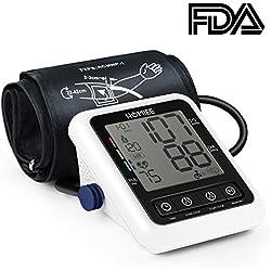 HOMIEE Tensiómetros de Brazo Digital, Detección del Pulso Arrítmico,Validado Clínicamente,Memoria 240 Mediciones para 2 Usuarios, Color Blanco,Certifica FDA CE (Blanco)